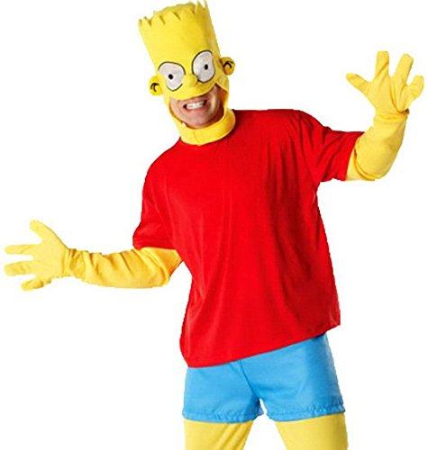 erdbeerloft - Herren Bart Simpson Kostüm - Ganzkörperanzug Hut, gelb rot, (Simpson Kostüme Maggie)