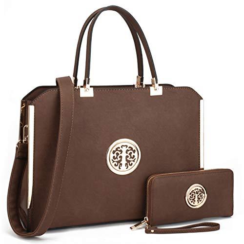 Damen Lila Flache Geldbörse (Dasein Große Designer-Handtaschen, Schultertasche, Aktentasche, strukturierte Handtaschen, Arbeitstaschen für 33 cm (13 Zoll) Laptop Tablet, Braun - Coffee + Wallett - Größe: Large)