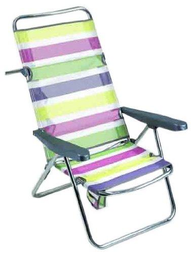 Alco - Silla Cama Playa Aluminio Respaldo Alto Rayas Colores 26 1-67026