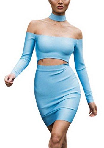 EOZY Mini Robe Épaule Femmes Choker Manche Longue Moulant En Cage Bleu