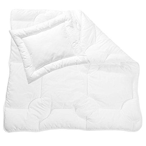 Zollner Bettdecken Set Kinderkopfkissen Kinderdecke ca. 35x40 cm + ca. 80x80 cm (weitere verfügbar), Weiß