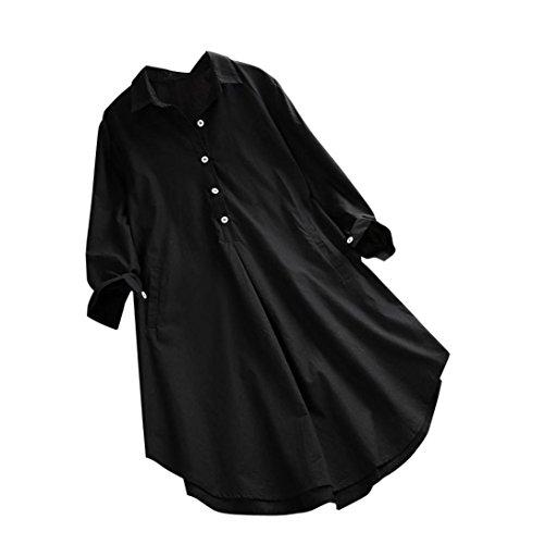 Overdose Casual Frauen Stehkragen Langarm beiläufige Lose Tunika Tops T Shirt Bluse Damen Sommer Herbst Langarmshirt Freizeit Oberteile