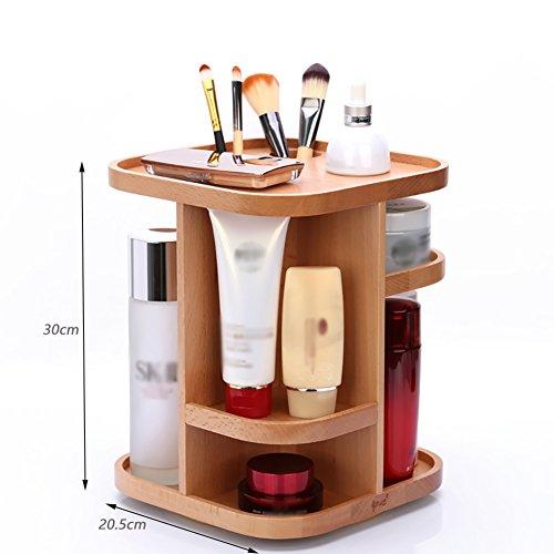 étui cosmétique Bois cosmétiques rack rotateur de maquillage case Creative double-deck rangement ( conception : Carré )