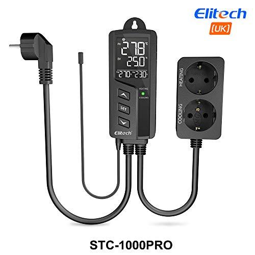 Elitech STC-1000Pro Termoregolatore Digitale Termostato Temperature Controller, Dual Relay 220v Termostato Digitale con Sonda, Per Acquari, Rettili, Riscaldatori, Incubatori12 mesi di garanzia