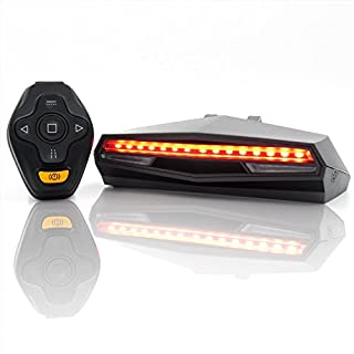 Ampulla Rechargeable Bike Tail Light LED - Remote Control, Turning Lights, Ground Lane Alert, Waterproof, Easy Installation for Cycling Safety Warning light