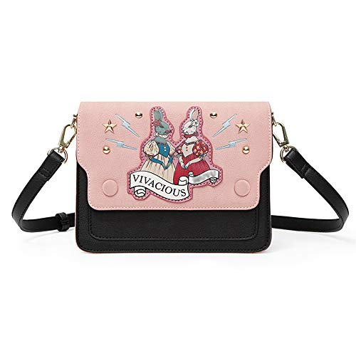 RKY Umhängetasche - PU/Polyester Baumwolle, kleine frische Cartoon Kaninchen lässig Tabak Mädchen weiches Gesicht Joker eine Schulter Messenger Square Bag - 20X7X15cm /-/