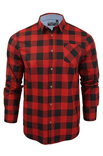 Herren Hemd von Brave Soul gebürstete Baumwolle, kariert, langärmlig (Rot Schwarz) L