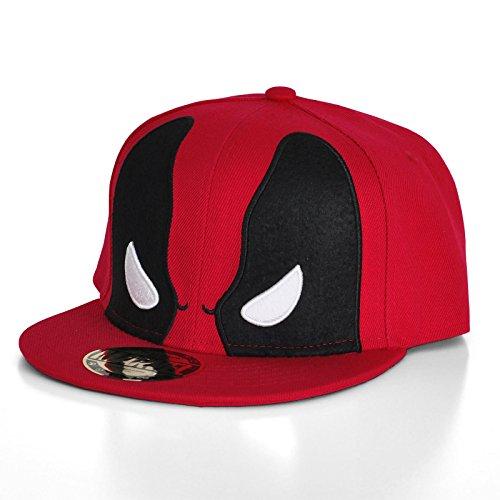 Elbenwald Deadpool Snapback Cap Basecap rot (Original X Men Kostüm)