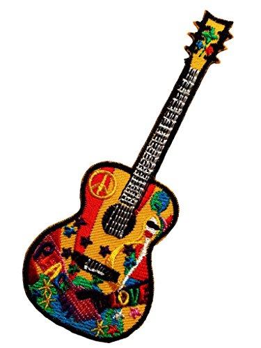 ld - Gitarre Peace Frieden Hippie - bunt - 5 x 12,8 cm - Patch Aufbügler Applikationen zum aufbügeln Applikation Patches Flicken ()