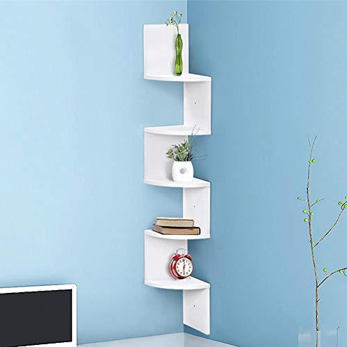 Bakaji libreria scaffale mensole da parete angolare design moderno in legno mdf con 5 ripiani ad angolo dimensioni 120 x 20 cm colore bianco