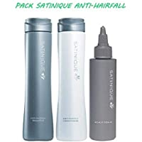 SATINIQUE PACK ANTICAIDA CABELLO - 280ml x2 y 80ml - Champú Anticaída, Acondicionador Anticaída y Tónico para.