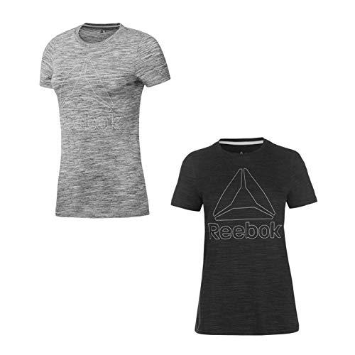 Reebok Marmo T-Shirt con Logo Donna Top Maglietta Athleisure Activewear - Nero, UK 8-10 (Piccolo)