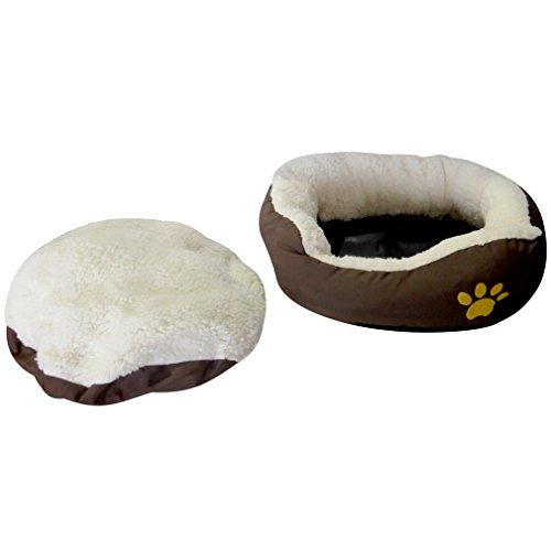 Evelots kleines rundes Haustierkörbchen für Katzen und Hunde,warm,braun - 4
