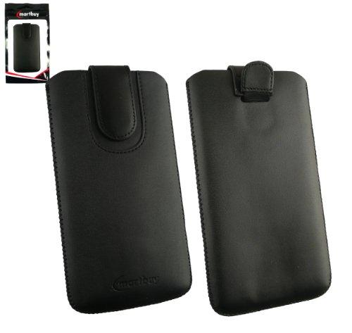 Emartbuy® Schwarz / Schwarz Premium PU LederTasche Hülle Schutzhülle Case Cover ( Größe 5XL ) Mit Ausziehhilfe Geeignet für Doogee HomTom HT6 Smartphone
