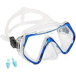 Supertrip Snorkeling Masque de plongée en apnée Film Anti-buée pour Adulte Lunettes de plongée panoramiques en Verre trempé (Bleu)