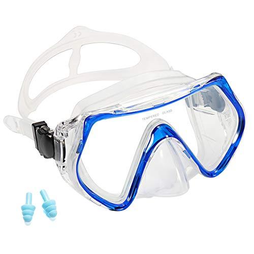 Supertrip Premium Erwachsene_Taucherbrille Tauchset gehärtete Tauchmaske und trockenem Schnorchel (Nur Taucherbrille)-Blau