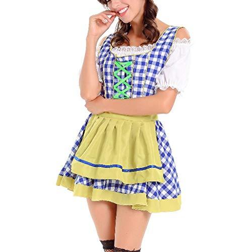Damen Oktoberfest Karneval Kostüm Traditionelles Kleid Halloween Cosplay Trachtenkleid Maid Kostüm mit Stickerei Traditionelle bayerische Oktoberfest Karneval (M, Blau)