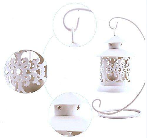 Sostenedor de Vela del Estilo Europeo Hueco de La Boda Retro Velas ElectróNicas Decorativas con Las Baterías de Melissa Wizard (blanco)
