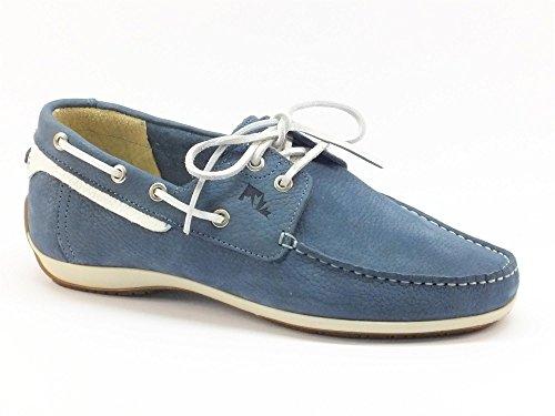 Scarpe Lumberjack per uomo modello barca in pelle blu e bianca (Taglia 45)