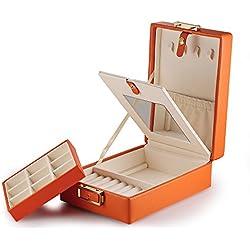 Joyero de viaje de dos pisos, piel laminada, con cierre y espejo, color naranja