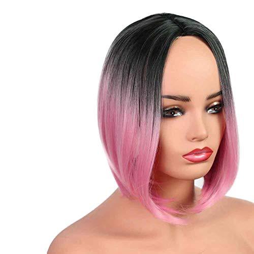 Allievens Bobo Kopf Kurze Glatte Haare hübsches Gesicht Flauschige natürliche realistische Haarschnitt Perücke weibliche Kurze Haare Saloneinrichtung 13 Zoll rosa und schwarz
