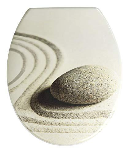 WENKO WC-Sitz Sand and Stone - Toilettensitz, rostfreie Edelstahlbefestigung, 37,5 x 45 cm, mehrfarbig