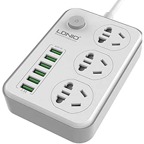 LDNIO® Surge Protector 3-Outlet 3.4 a / 17W con 6 USB ricarica porte 6-FT lungo cavo per iPhone, iPad, tablet e altro ancora (WHITE)