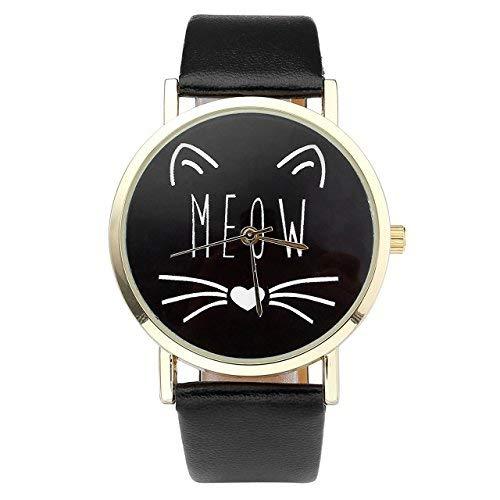 JSDDE Uhren,Vintage Damen Uhr Cute Katze Meow Design Armbanduhr Damenuhr Faux Leder Band Analog Quarzuhr,Schwarz (Vintage-rolex-uhren Für Frauen)