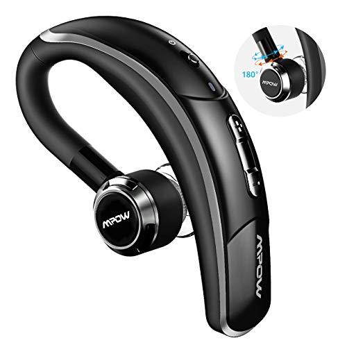 Mpow Auricolare Bluetooth 4.1 con CVC 6.0 Microfono Stereo, CSR Chip e Tecnologia di Catturare Voce Chiara, 4 Tasti per Facile Operazione, Cuffia Bluetooth Senza Fili con Earbud Regolabile 180°- Nero