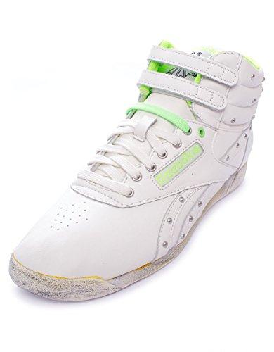 Reebok FS HI Freestyle Hi Top Scarpe di cuoio donne classiche nero White - Chalk/Neon Green/Black