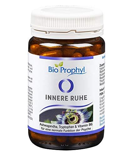BioProphyl® Innere Ruhe mit Ashwaghanda 5% Withanoliden, Baldrian, Hopfen und Lavendel + L-Tryptophan und B-Vitaminen zur Unterstützung der Psyche - 60 pflanzliche Kapseln für 1 Monat - 100% vegan