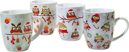 Gepolana Kaffeebecher Eule, Schneemann, Winter 4er-Pack Porzellan - spülmaschinengeeignet, mikrowellengeeignet