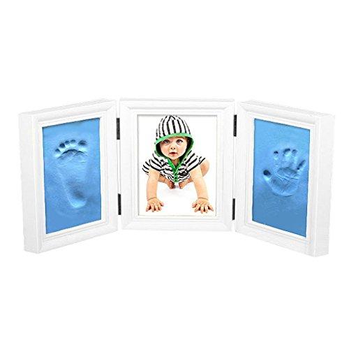 Preisvergleich Produktbild Baby 3 Teiliger Bildrahmen Hand- und Fuß-Abdrücke Kit BLAU