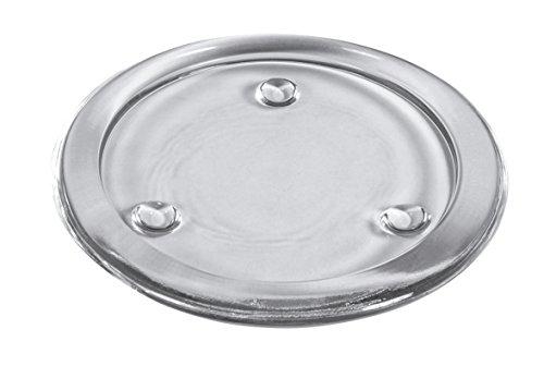 Rayher 46270000 Glas-Untersetzer mit Rand, Innendurchmesser 7,5 cm, Stärke 7 mm, mit 3 Fußpunkten, glasklar, Kerzenteller, rund, Kerzenständer, Kerzenhalter Glas, 10 cm ø