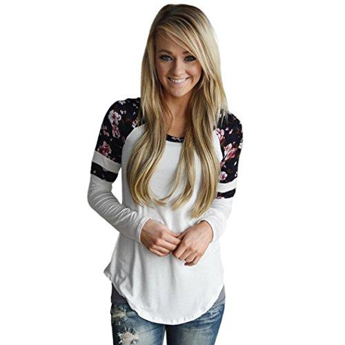 OverDose MoKingTop Damen Floral Splice Printing Langarm Rundhals Pullover Bluse Tops T-Shirt (3XL, Weiß) (Crewneck Damen Kurzarm Pullover)