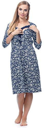 Be Mammy Damen Stillnachthemd BE20-167 Navy Blumen