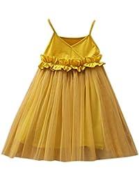 e3f4afc57ff Sonnena Robe Princesse Fille en Dentelle sans Manches Jupe à Fille Robe Robe  à Bretelles Jupe
