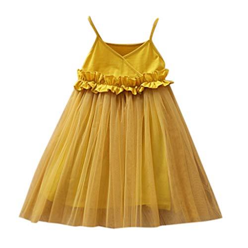 TTLOVE Kleinkind Kinder Baby MäDchen Mesh Kleid Geburtstag Party Kleid Pageant Prinzessin TüLl Tutu Brautkleid Brautjungfer Pageant Kleid(Gelb,120)