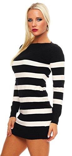 10865 Fashion4Young Damen Strick Minikleid Streifen Long Pullover Pulli Kleid StrickPullover Schwarz-Weiß