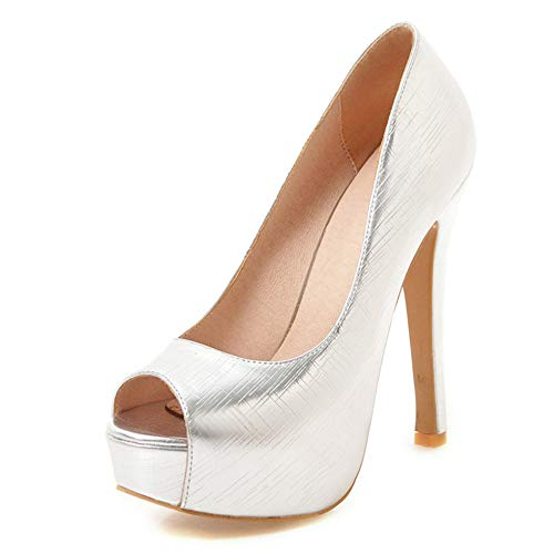MENGLTX High Heels Sandalen Peep Toe Dünne High Heels Pumps Frau Plateau Pumps Frau Hochzeit Schuhe Frauen Plus Größe 33-48 11 Silber (Damen Silber Größe Pumps 11)