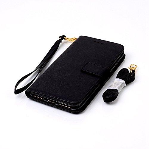 iPhone Case Cover Gepresste Blumen-feste Farben-PU-lederne Kasten-Abdeckung mit Handbügel-Mappen-Kasten für IPhone 7 Plus ( Color : White , Size : IPhone 7 Plus ) Black
