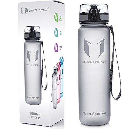 Super Sparrow - Bottiglia per l'acqua, a prova di perdite, senza BPA - Apre con 1 click
