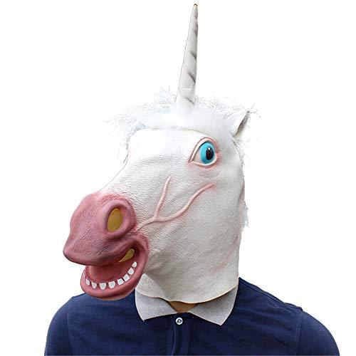 FXXUK Neuheit Halloween Kostüm Party Latex Einhorn Kopf Maske Tier Weiß Deluxe Kopfbedeckung Dekoration für Erwachsene Kinder Cosplay Maskerade Streich - Einhorn Kostüm Männlich