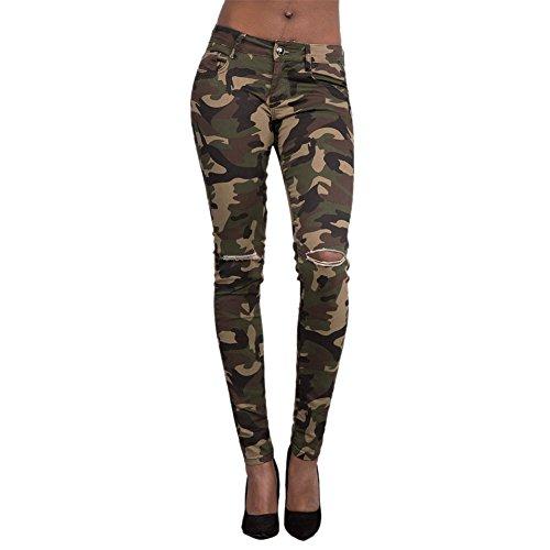 LAEMILIA Damen Camouflage SkinnyHose Legging mit Löchern Slim Fit Military Army Hosen Streetwear (EU38=Tag L, Armee grün)