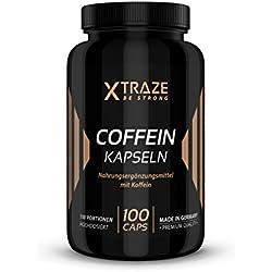 Koffein Kapseln hochdosiert 200mg - 100 Kapseln - Qualität aus Deutschland - ohne Zusatzstoffe - 100% reines Coffein (1 Dose)