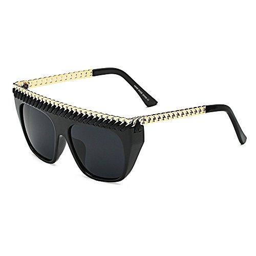 MINCL Flat Top Gold Chain Link Hip Hop Rapper Wayfarer Celebrity Sunglasses  (light black-black) - Buy Online in KSA. mincl products in Saudi Arabia. 2d0dd2008e9