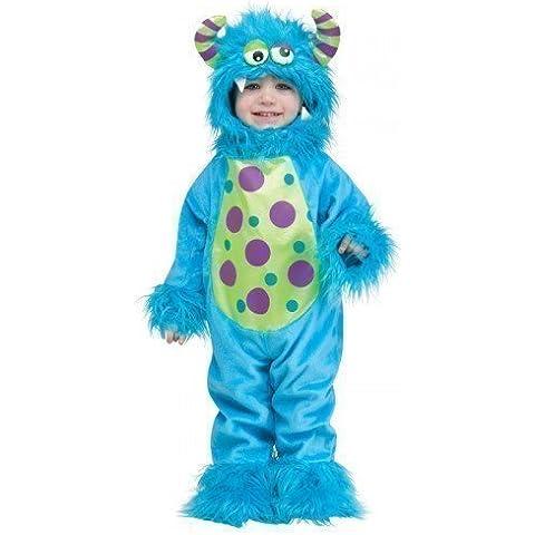 Bebé Niño Pequeño Chicas Chicos Azul o Lila Halloween Monstruo Disfraz Traje Camiseta Capricho 12-24 meses