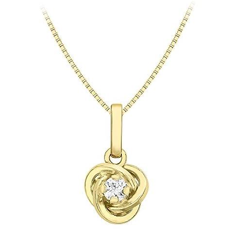 Carissima Gold Damen-Kette 9 k (375) yellow gold Venetian Box Chain 1.46.1060 Rundschliff Zirkonia