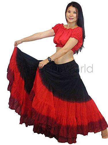 Kostüm Tribal - Dancers World Ltd (UK Seller) Tänzer Welt 2pc 25Yard Baumwolle Rock für Tribal Gypsy Bauchtanz Röcke ATS, Red Black Maroon