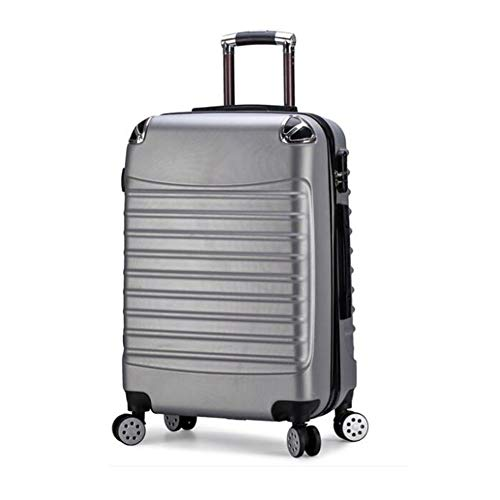 HONGSHENG Wickeltrolley Case Cute Solid Color Universal Wheeled Suitcase,Silver,20